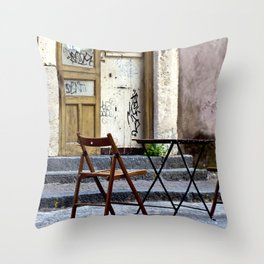 Coffee time in Catania on the Isle of Sicily Throw Pillow