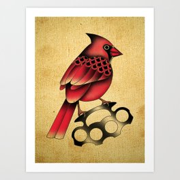 Cardinal and knuckle duster with canvas background Art Print