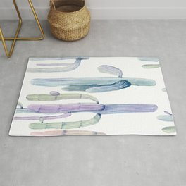 Minimalist Cactus Drawing Watercolor Painting Turquoise Cacti Rug