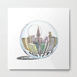 New York in a glass bowl painted in pastel colors Metal Print