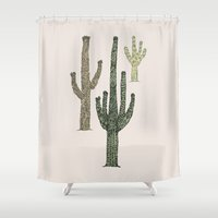 cactus Shower Curtains featuring Cactus by Hinterlund