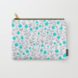 Blue and Grey Floral Pattern Carry-All Pouch