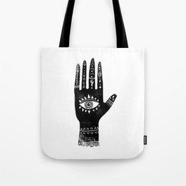 Hand with eye linocut black and white minimal boho third eye hamsa Tote Bag