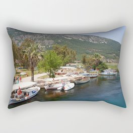 Fishing Boats on The River Azmak Akyaka Turkey Rectangular Pillow