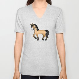Buckskin Trotting Horse Cute Cartoon Illustration Unisex V-Neck