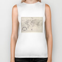 Vintage Map of The World (1750) Biker Tank