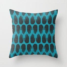 Blue Hands Throw Pillow