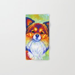 Colorful Long Haired Chihuahua Dog Hand & Bath Towel