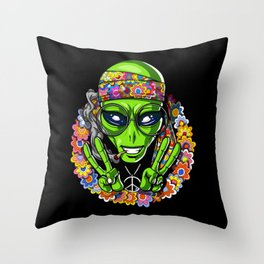 Hippie Alien Peace Psychedelic UFO Throw Pillow