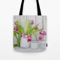 tulips Tote Bags featuring Tulips by LebensART Photography