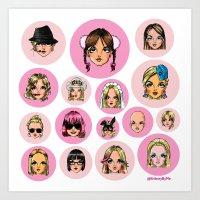 cartoons Art Prints featuring CartooNEY - Britney Spears Cartoons by Eduardo Sanches Morelli