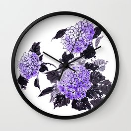 Hydrangea flowers sumie ink and watercolor painting Wall Clock