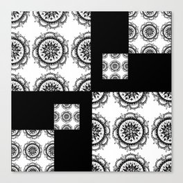 Black and White Rounded Mandala Patch Textile Canvas Print