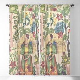 Frida's Garden, Casa Azul Lush Greenery Frida Kahlo Landscape Painting Sheer Curtain