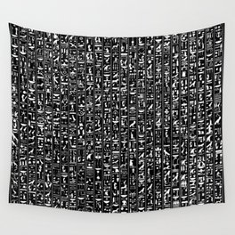 Hieroglyphics B&W INVERTED / Ancient Egyptian hieroglyphics pattern Wall Tapestry