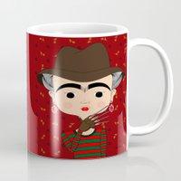 freddy krueger Mugs featuring Frida Krueger by Camila Oliveira