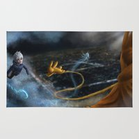 jack frost Area & Throw Rugs featuring Jack Frost and Sandman by Luz Tapia Art