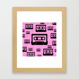 Pink & Black Cassette Tapes Framed Art Print