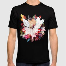 Floral Explosion Black Mens Fitted Tee LARGE