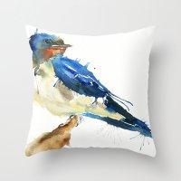 swallow Throw Pillows featuring Swallow by Meg Ashford