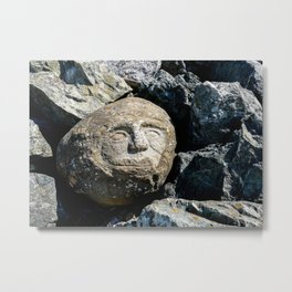 Happy Faces Carved in Stone Metal Print