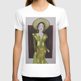 Classy woman in green dress with golden accents T-shirt