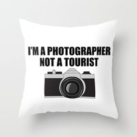 photographer Throw Pillows featuring Photographer Tourist Funny by bitobots