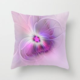 Abstract Flower With Pink And Purple Fractal Throw Pillow