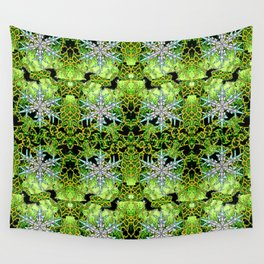 GREEN AURORA WINTER SNOWFLAKES PATTERN Wall Tapestry