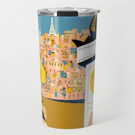 Vintage France Sidewalk Cafe Travel Travel Mug
