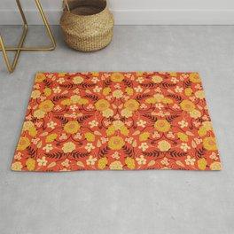 Vibrant Orange, Yellow & Brown Floral Pattern w/ Retro Colors Rug