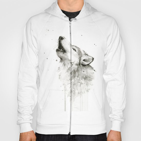Wolf Howling Watercolor Animals Wildlife Painting Animal Portrait Hoody