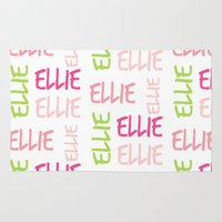 preppy Area & Throw Rugs featuring Name Square Color Splash Preppy Pink by Drape Studio