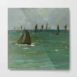 "Édouard Manet ""Boats at Berck-sur-Mer"" Metal Print"