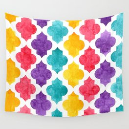 Colorful quatrefoil pattern in watercolor Wall Tapestry