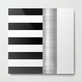 Black & White Stripes & Silver Metallic Accent Metal Print