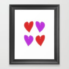 Red and Purple Hearts - 4 hearts Framed Art Print