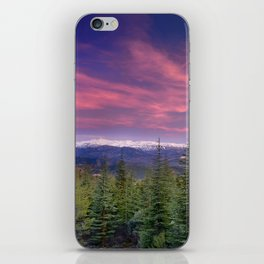 Spring sunset at the mountains iPhone Skin