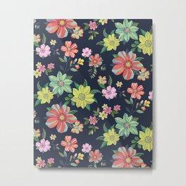Dramatic Floral Pattern Metal Print