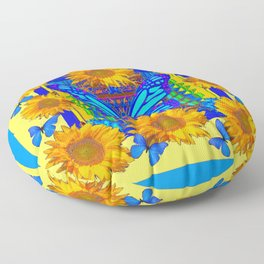 Yellow Gold Flowers Blue Butterflies Art Floor Pillow