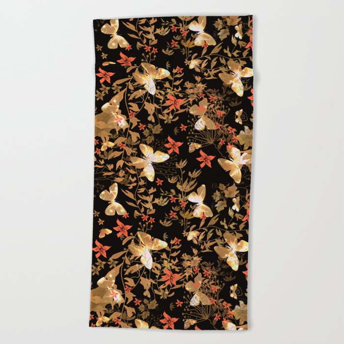 Golden butterfly in the night. Beach Towel