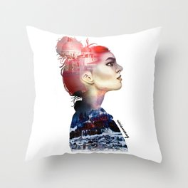Double Exposure Girl Drawing (PART I) Throw Pillow