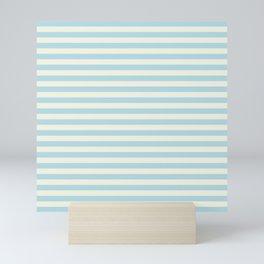Blue Plume Pale Creme Stripe Mini Art Print