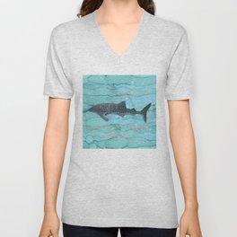 Whale Shark Swimming in the Emerald Ocean Unisex V-Neck