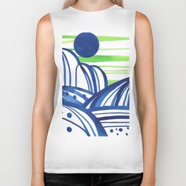 Lime and blue abstract landscape Biker Tank