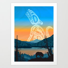 Salish Wolf Sunrise Art Print