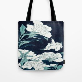 JAPANESE FLOWERS Midnight Blue Teal Tote Bag