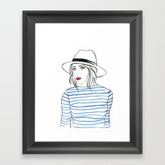 Stripes & Red Lips Framed Art Print
