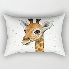 Baby Giraffe with Hearts Watercolor Whimsical Animal Nursery Print Rectangular Pillow