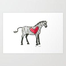 Zebra Heart Art Print